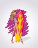 dziewczyna surfingowiec Zdjęcia Royalty Free
