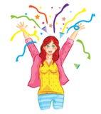 Dziewczyna szczęśliwa świętuje Obrazy Royalty Free