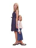 dziewczyna szczęśliwa jej mała mama Zdjęcia Royalty Free