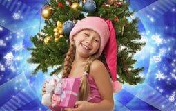 dziewczyna szczęśliwy Santa Obraz Stock