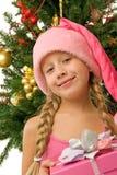 dziewczyna szczęśliwy Santa Fotografia Stock