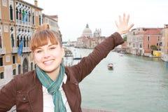 dziewczyna szczęśliwy smilling Venice Zdjęcie Royalty Free