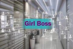 Dziewczyna szef na dotyka ekranie z plamy tłem offi zdjęcie stock
