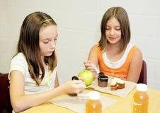 dziewczyna szkoły tabeli lunch Zdjęcie Stock