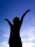 dziewczyna tła stanowi niebo Zdjęcie Royalty Free