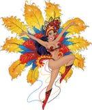 Dziewczyna tancerz w Brazylijskim karnawale Obraz Royalty Free