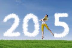 Dziewczyna taniec świętować nowego roku outdoors Obrazy Stock