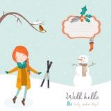 Dziewczyna taniec pod spada śniegiem Zdjęcia Royalty Free