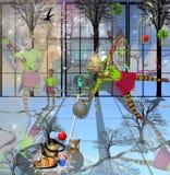 Dziewczyna taniec w zieleni i czerwieni sukni Zdjęcie Stock