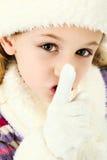 dziewczyna target1116_0_ spokojnego tajnego shhhhh obraz stock