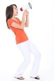 Dziewczyna target375_0_ w głośnego mówcę Zdjęcia Royalty Free
