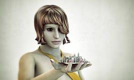 Dziewczyna target44_1_ miasto w jej ręce Zdjęcia Royalty Free