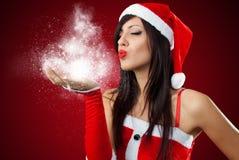 Dziewczyna target636_0_ Santa Claus odziewa Zdjęcia Royalty Free