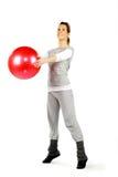 Dziewczyna target682_1_ czerwoną piłkę Zdjęcie Stock