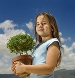 dziewczyna target98_1_ małego drzewa Obraz Royalty Free