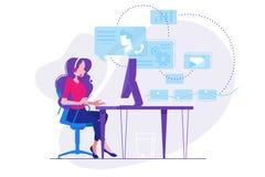 Dziewczyna telefoniczny konsultant w miejscu pracy ilustracja wektor
