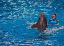Dziewczyna trener oddziała wzajemnie z delfinem przy Seaworld przedstawieniem obrazy royalty free