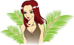 dziewczyna tropikalna ilustracji