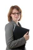 dziewczyna trzyma laptop młody zdjęcia stock