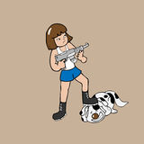 Dziewczyna trzyma maszynowego pistoletu kreskówkę Obrazy Stock
