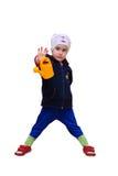 Dziewczyna trzyma podlewanie puszkę w ręce Fotografia Stock