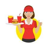 Dziewczyna trzyma tacę z fastem food Zdjęcie Royalty Free