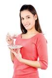 Dziewczyna trzyma teapot obraz stock