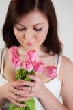 dziewczyna tulipany Zdjęcie Royalty Free