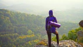 Dziewczyna turysta z plecakiem na krawędzi falezy patrzeć zbiory