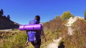 Dziewczyna turysta z plecakiem wspina się halną ścieżkę zdjęcie wideo