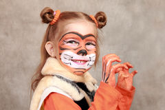dziewczyna tygrys Zdjęcie Royalty Free