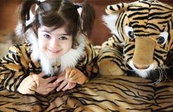 dziewczyna tygrys Obraz Royalty Free