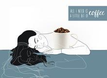 Dziewczyna uścisku kawowy kubek Obrazy Stock