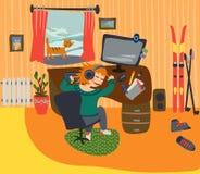 Dziewczyna uśpiona przy jego biurkiem zdjęcie stock