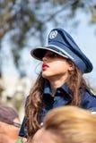 Dziewczyna ubierał jako policjant przy karnawałem Adloyada w Nahariyya, Izrael Zdjęcia Stock