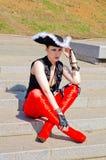 Dziewczyna ubierająca jako pirat zdjęcie stock