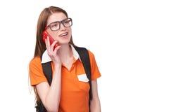 Dziewczyna uczeń z telefonem komórkowym Obraz Stock