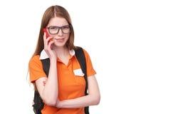 Dziewczyna uczeń z telefonem komórkowym Obrazy Stock