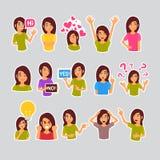 Dziewczyna Ustawiająca majchery Dla gona, etykietki ikony loga Kolorowej kolekci Różna emocja royalty ilustracja