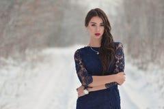 Dziewczyna w śnieżnym lesie obrazy stock