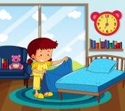 Dziewczyna w żółtych piżamach robi łóżku w sypialni ilustracji