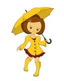 Dziewczyna w żółtym deszczowu z parasolem Zdjęcia Stock