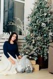 Dziewczyna w błękitnej sukni w nowego roku wystroju blisko dekorującej choinki Fotografia Royalty Free