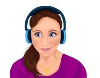 Dziewczyna w błękitnych hełmofonach na białym tle royalty ilustracja