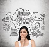 Dziewczyna w biel odgórnych i biznesowych ikonach na betonowej ścianie zdjęcie stock