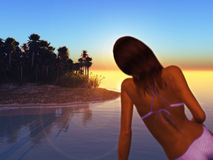 Dziewczyna w bikini na plaży Zdjęcie Royalty Free