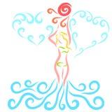 Dziewczyna w bikini przybyciu z wody i dotykać słońce, royalty ilustracja