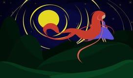 Dziewczyna w blasku księżyca na wzgórzu Obraz Stock