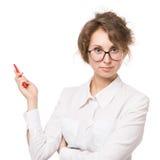 Dziewczyna w bluzki białych stojakach na białym tle, gesty, emocje na ona twarz Zdjęcie Stock