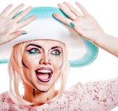 Dziewczyna w cappelline z makeup w stylu wystrzał sztuka Fotografia Royalty Free